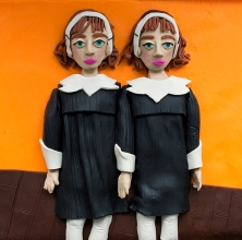 Original photograph: Identical Twins, Roselle, N.J., 1967 by Diane Arbus rendered in Play-Doh, 2015 © Eleanor Macnair