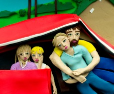 Original photograph: The Damm Family in Their Car, Los Angeles, California, 1987 by Mary Ellen Mark rendered in Play-Doh, 2016 © Eleanor Macnair