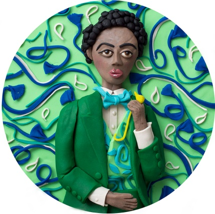 Original photograph: Self-portrait as Frederick Douglas from the series 'Project Disaspora' by Omar Victor Diop rendered in Play-doh