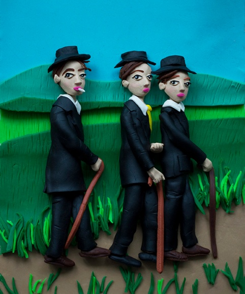 Original photograph: Young farmers, 1914 by August Sander rendered in Play-Doh, 2015 © Eleanor Macnair